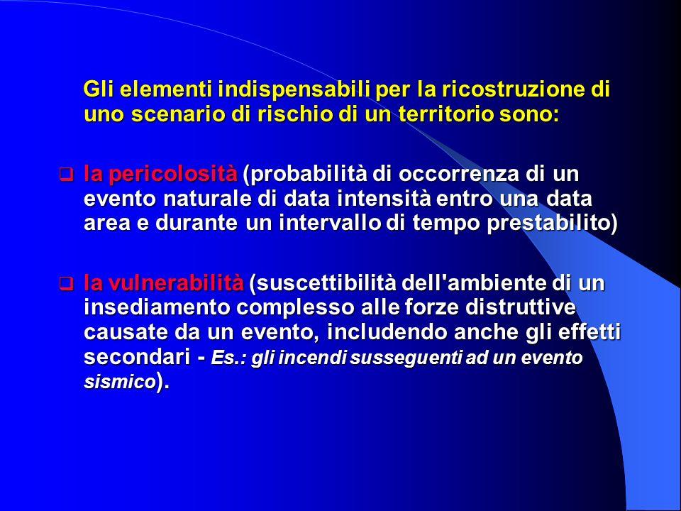 Gli elementi indispensabili per la ricostruzione di uno scenario di rischio di un territorio sono: