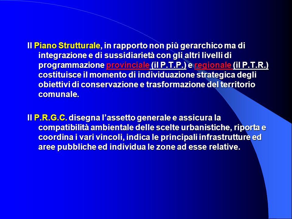 Il Piano Strutturale, in rapporto non più gerarchico ma di integrazione e di sussidiarietà con gli altri livelli di programmazione provinciale (il P.T.P.) e regionale (il P.T.R.) costituisce il momento di individuazione strategica degli obiettivi di conservazione e trasformazione del territorio comunale.