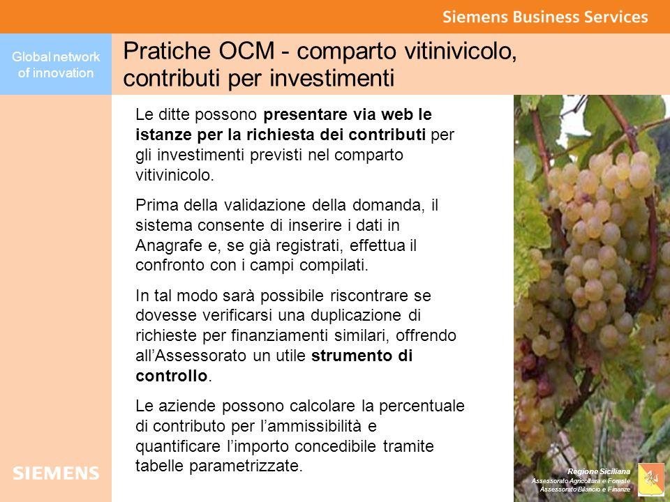 Pratiche OCM - comparto vitinivicolo, contributi per investimenti