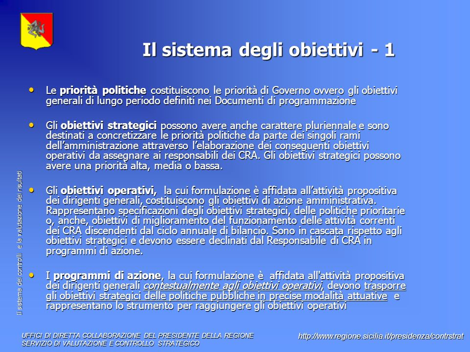 Il sistema degli obiettivi - 1