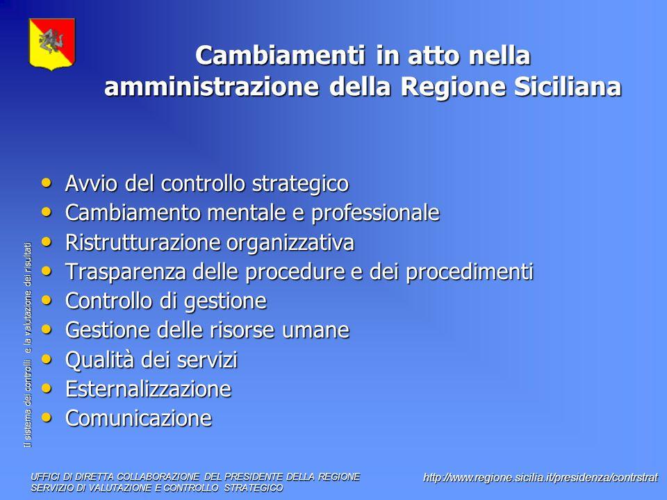 Cambiamenti in atto nella amministrazione della Regione Siciliana