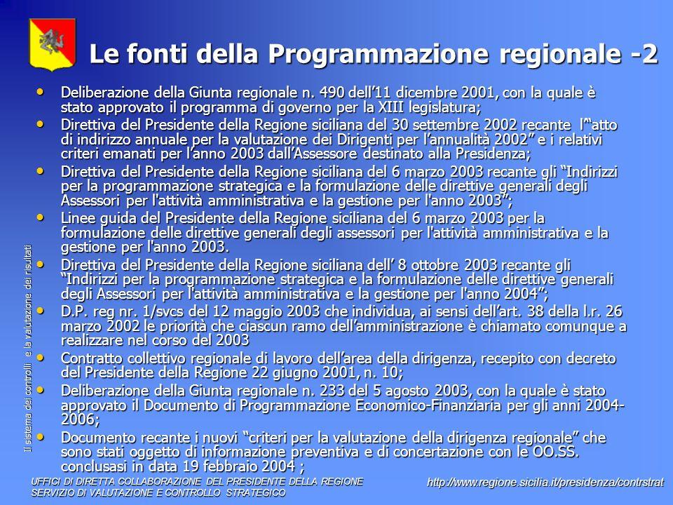 Le fonti della Programmazione regionale -2