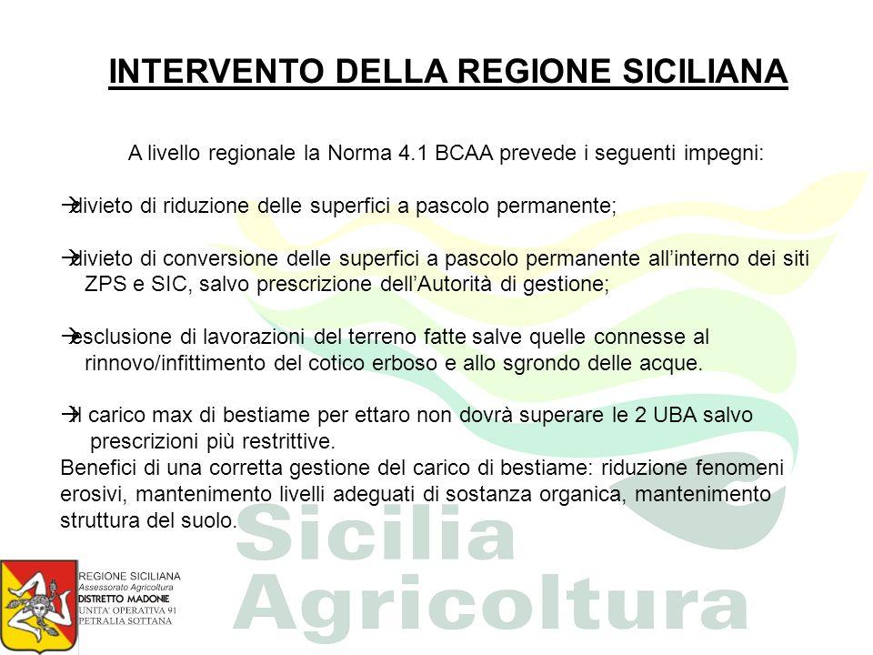 A livello regionale la Norma 4.1 BCAA prevede i seguenti impegni: