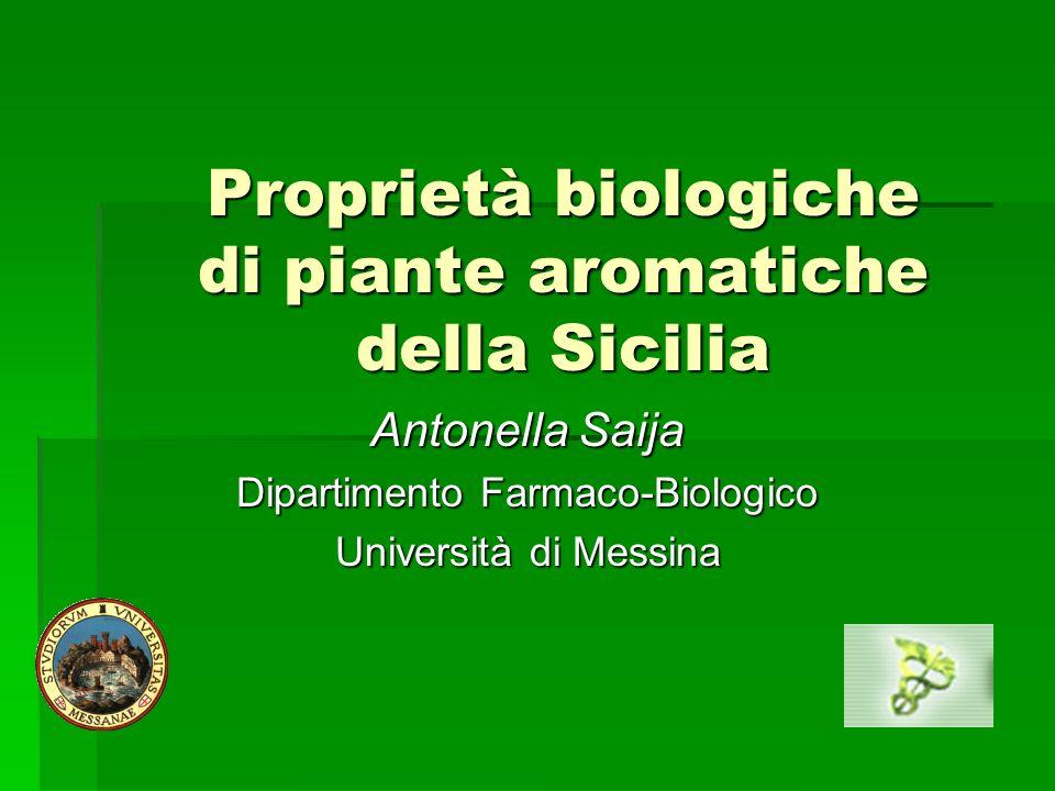 Proprietà biologiche di piante aromatiche della Sicilia