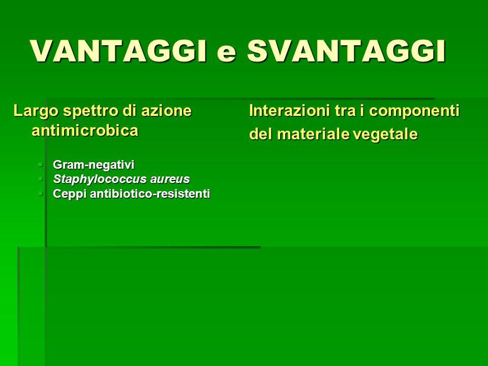 VANTAGGI e SVANTAGGI Largo spettro di azione antimicrobica