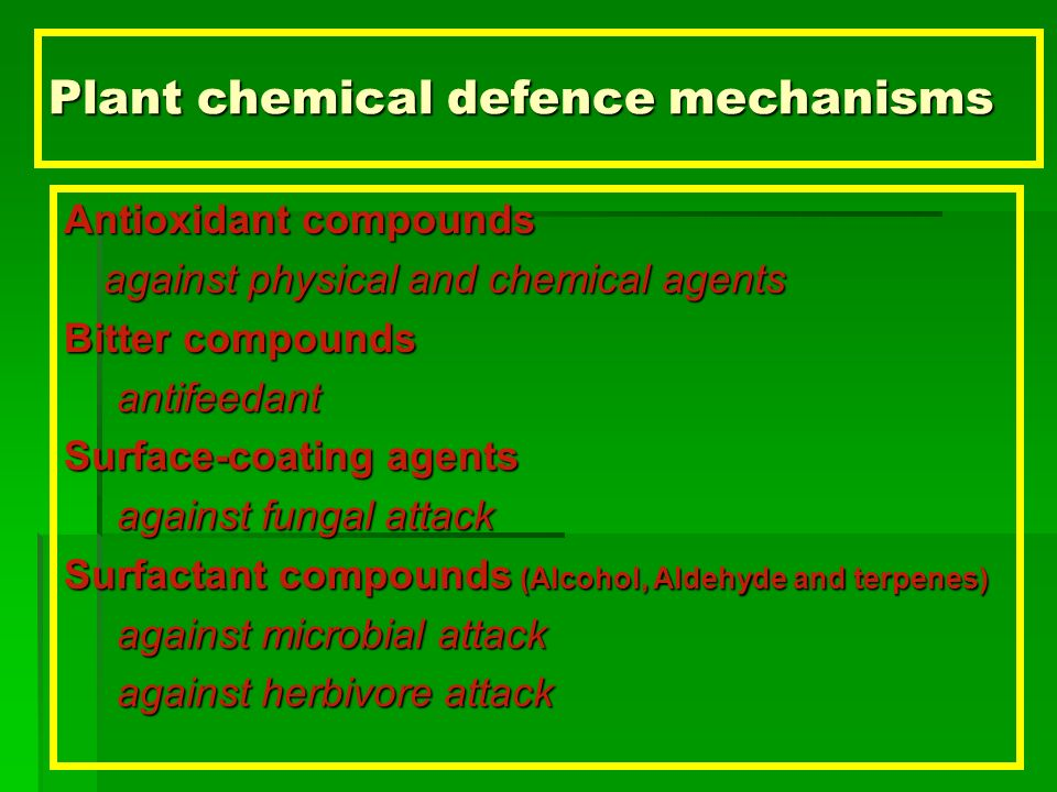 Plant chemical defence mechanisms
