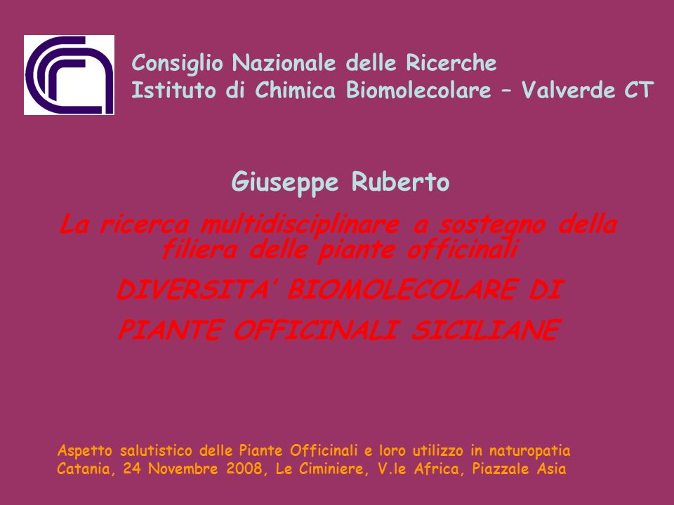 DIVERSITA' BIOMOLECOLARE DI PIANTE OFFICINALI SICILIANE