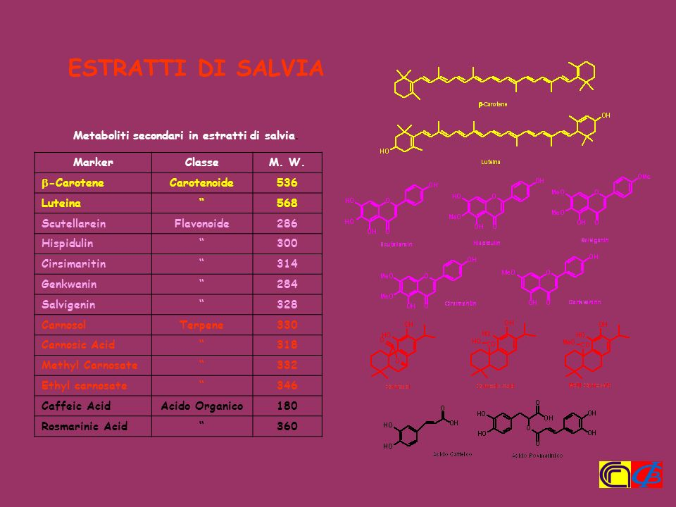 ESTRATTI DI SALVIA Metaboliti secondari in estratti di salvia. Marker