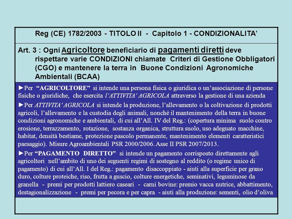 Reg (CE) 1782/2003 - TITOLO II - Capitolo 1 - CONDIZIONALITA'