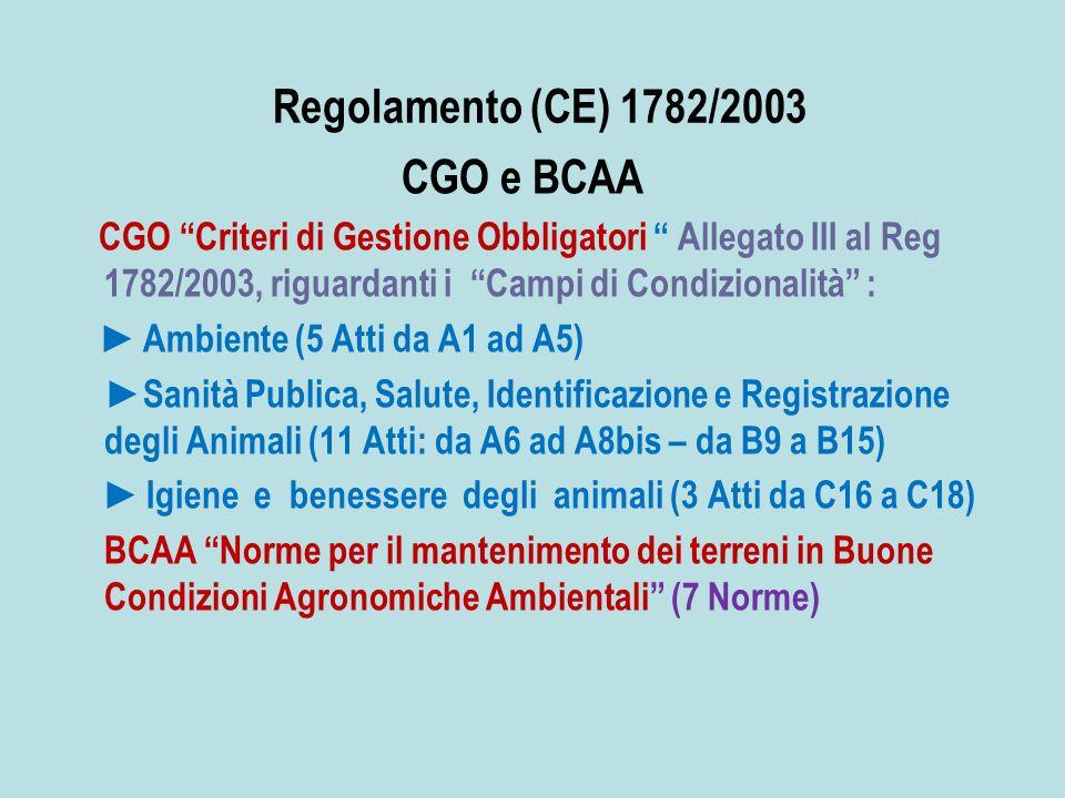 Regolamento (CE) 1782/2003 CGO e BCAA