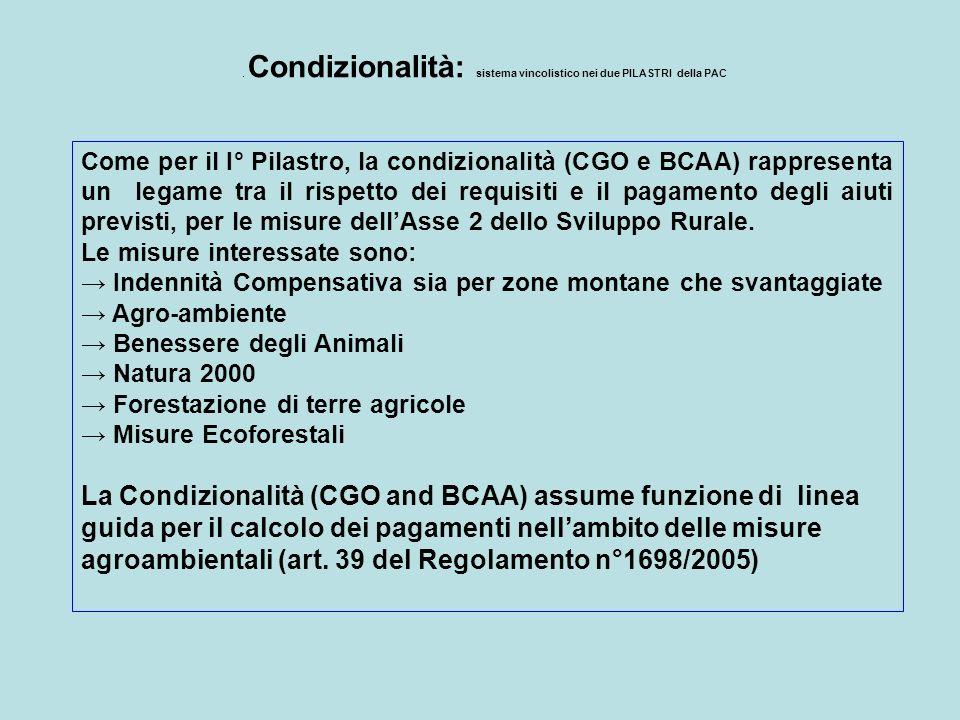 . Condizionalità: sistema vincolistico nei due PILASTRI della PAC