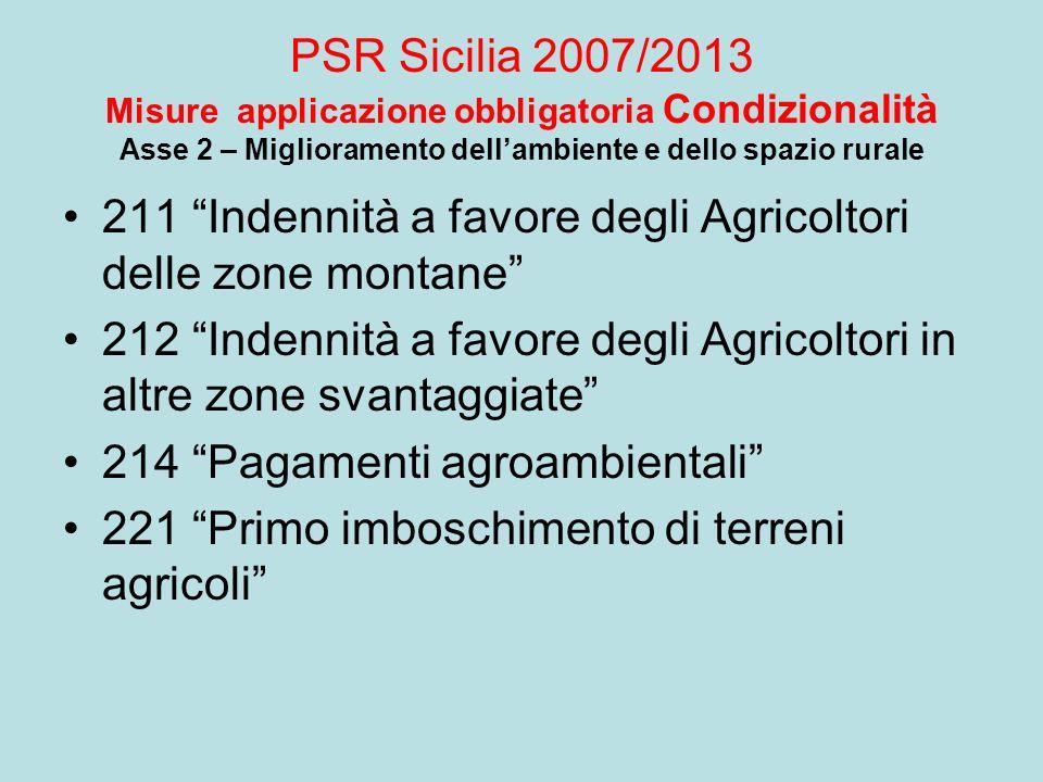 PSR Sicilia 2007/2013 Misure applicazione obbligatoria Condizionalità Asse 2 – Miglioramento dell'ambiente e dello spazio rurale