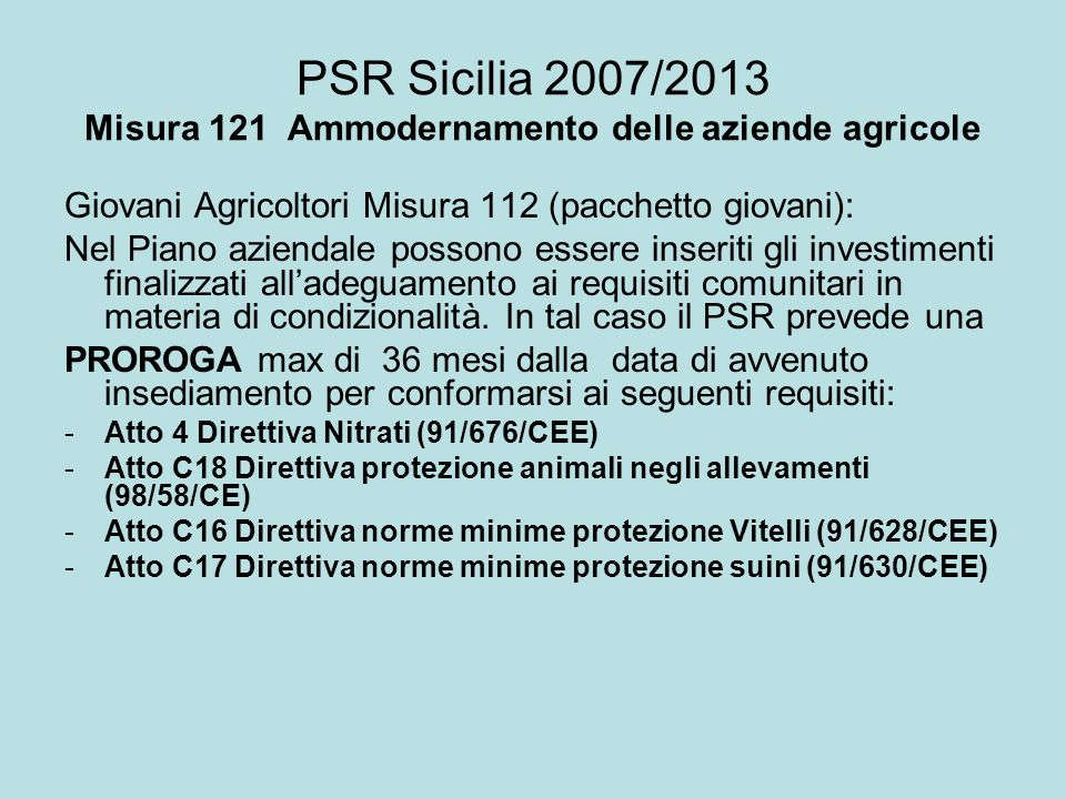 PSR Sicilia 2007/2013 Misura 121 Ammodernamento delle aziende agricole