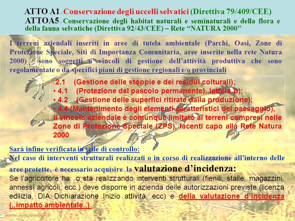 ATTO A1 – Conservazione degli uccelli selvatici (Direttiva 79/409/CEE)