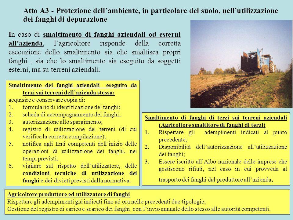 Atto A3 - Protezione dell'ambiente, in particolare del suolo, nell'utilizzazione dei fanghi di depurazione