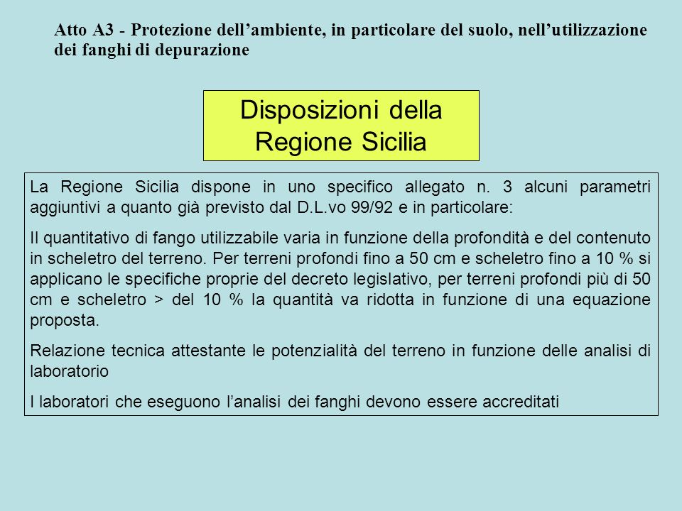 Disposizioni della Regione Sicilia