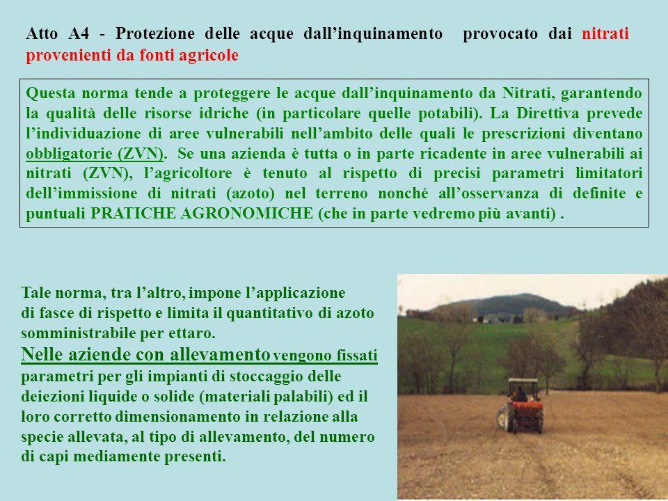 Atto A4 - Protezione delle acque dall'inquinamento provocato dai nitrati provenienti da fonti agricole