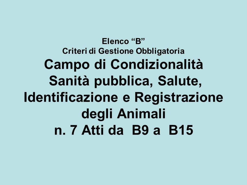 Elenco B Criteri di Gestione Obbligatoria Campo di Condizionalità Sanità pubblica, Salute, Identificazione e Registrazione degli Animali n.