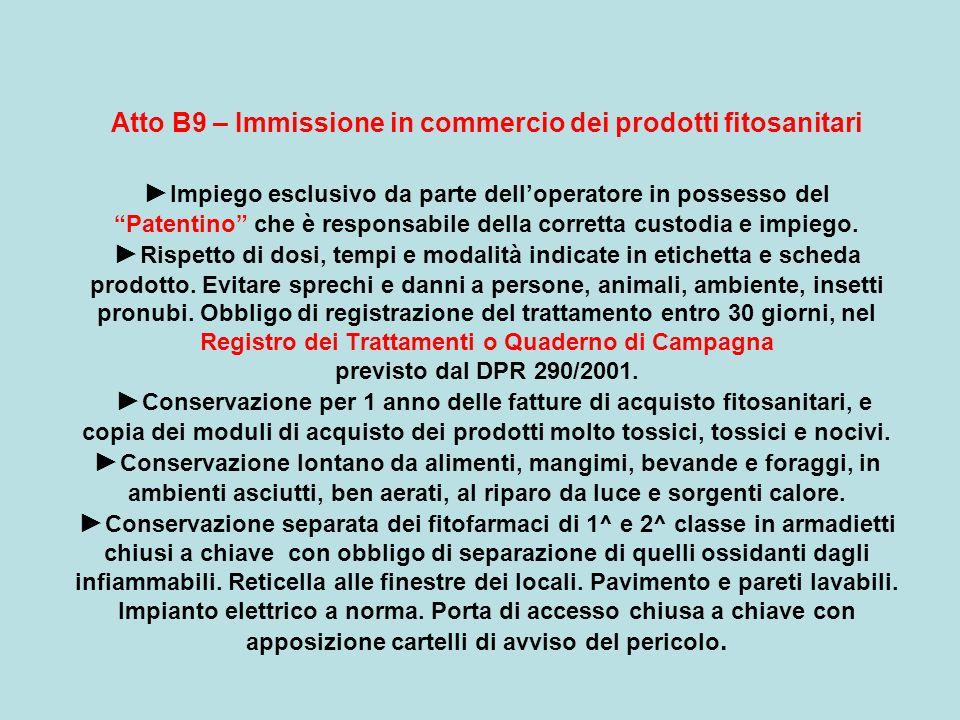 Atto B9 – Immissione in commercio dei prodotti fitosanitari ►Impiego esclusivo da parte dell'operatore in possesso del Patentino che è responsabile della corretta custodia e impiego.