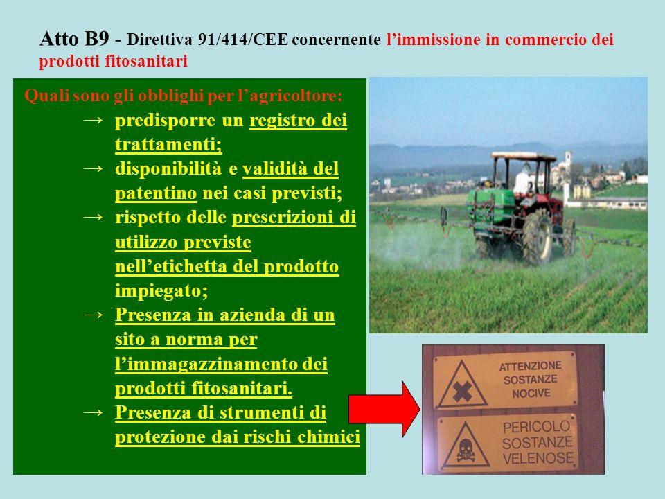 Atto B9 - Direttiva 91/414/CEE concernente l'immissione in commercio dei prodotti fitosanitari