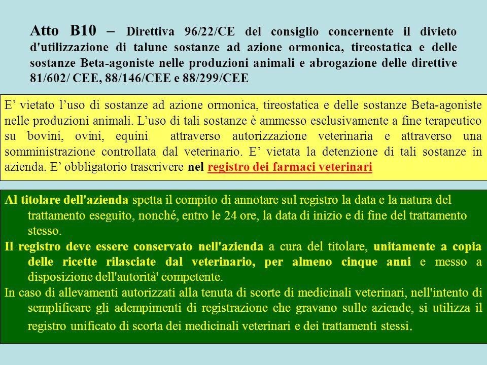 Atto B10 – Direttiva 96/22/CE del consiglio concernente il divieto d utilizzazione di talune sostanze ad azione ormonica, tireostatica e delle sostanze Beta-agoniste nelle produzioni animali e abrogazione delle direttive 81/602/ CEE, 88/146/CEE e 88/299/CEE