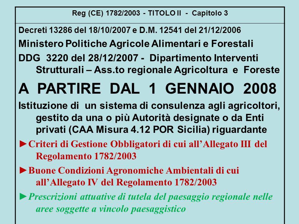 Reg (CE) 1782/2003 - TITOLO II - Capitolo 3