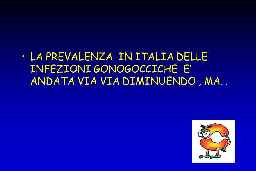 LA PREVALENZA IN ITALIA DELLE INFEZIONI GONOGOCCICHE E' ANDATA VIA VIA DIMINUENDO , MA…