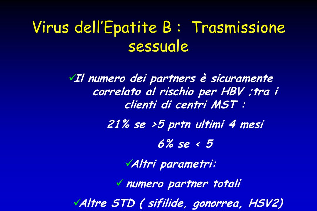 Virus dell'Epatite B : Trasmissione sessuale