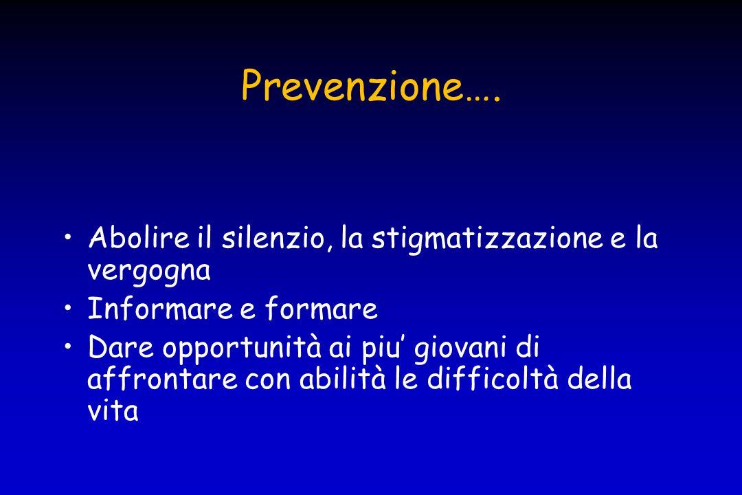 Prevenzione…. Abolire il silenzio, la stigmatizzazione e la vergogna