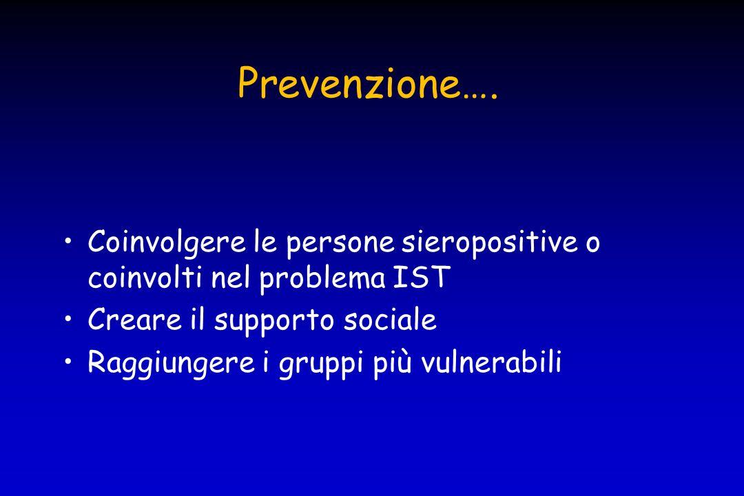 Prevenzione…. Coinvolgere le persone sieropositive o coinvolti nel problema IST. Creare il supporto sociale.