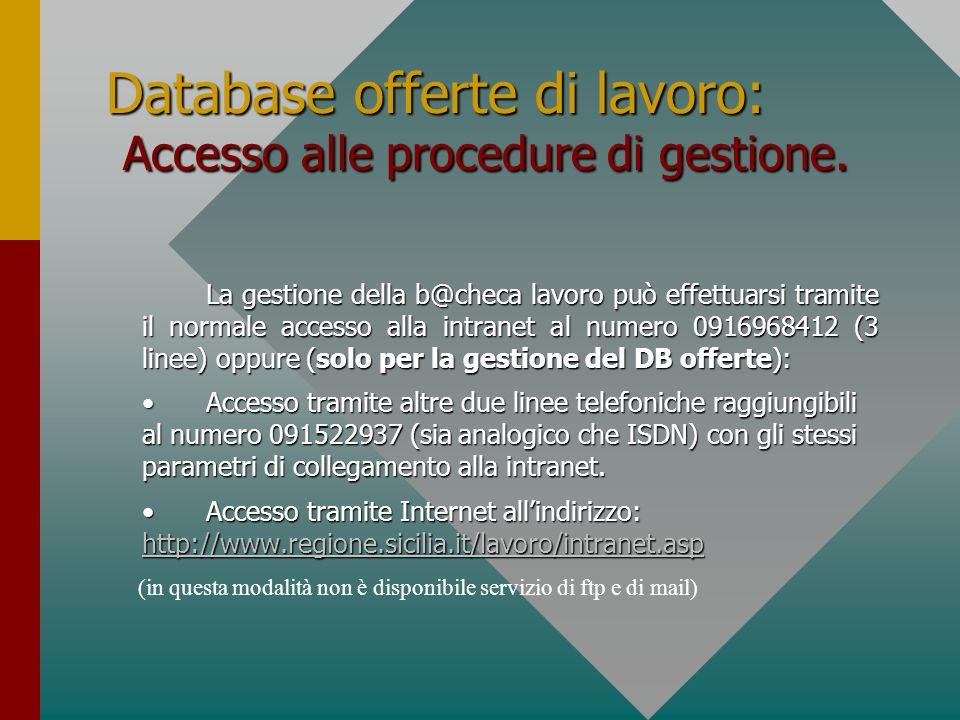 Database offerte di lavoro: Accesso alle procedure di gestione.