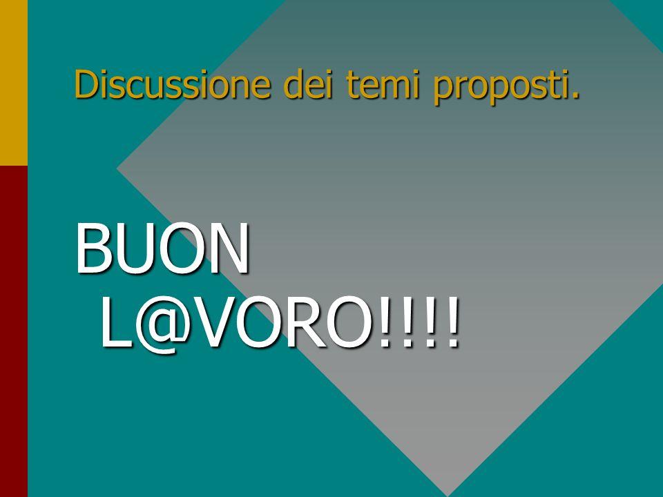 Discussione dei temi proposti.