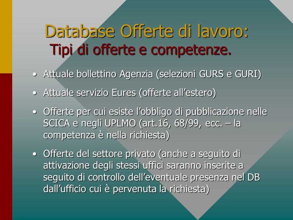 Database Offerte di lavoro: Tipi di offerte e competenze.