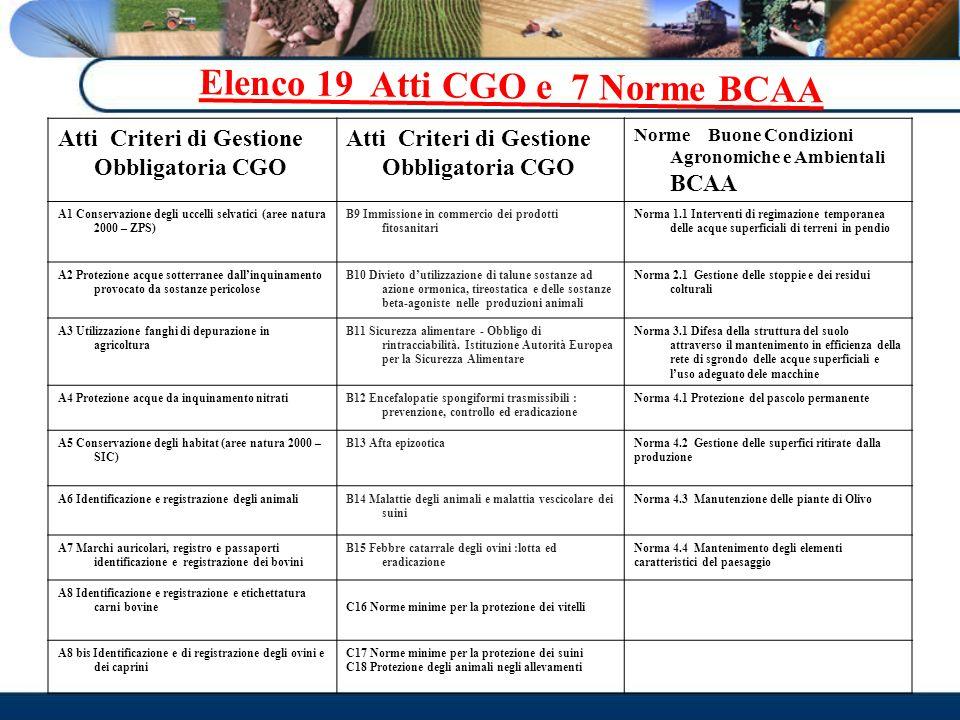 Elenco 19 Atti CGO e 7 Norme BCAA