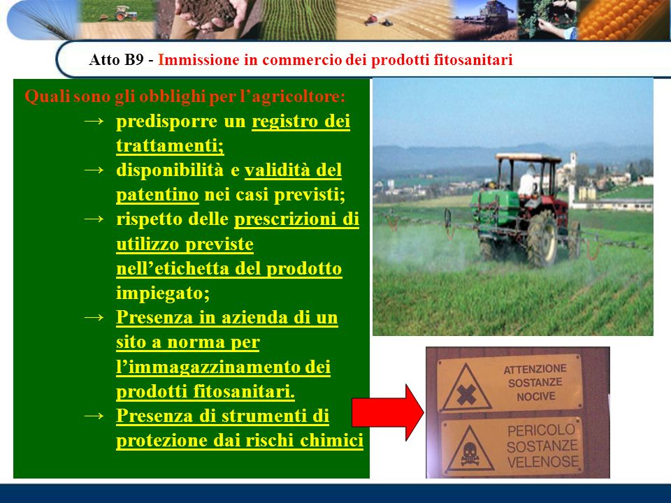 Quali sono gli obblighi per l'agricoltore: