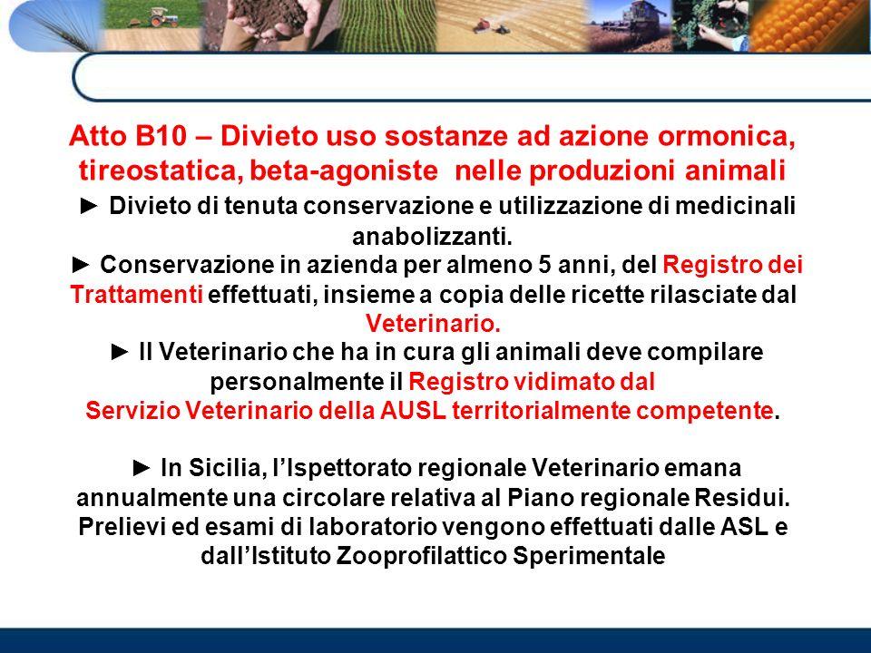 Atto B10 – Divieto uso sostanze ad azione ormonica, tireostatica, beta-agoniste nelle produzioni animali ► Divieto di tenuta conservazione e utilizzazione di medicinali anabolizzanti.
