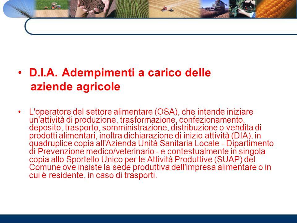 D.I.A. Adempimenti a carico delle aziende agricole