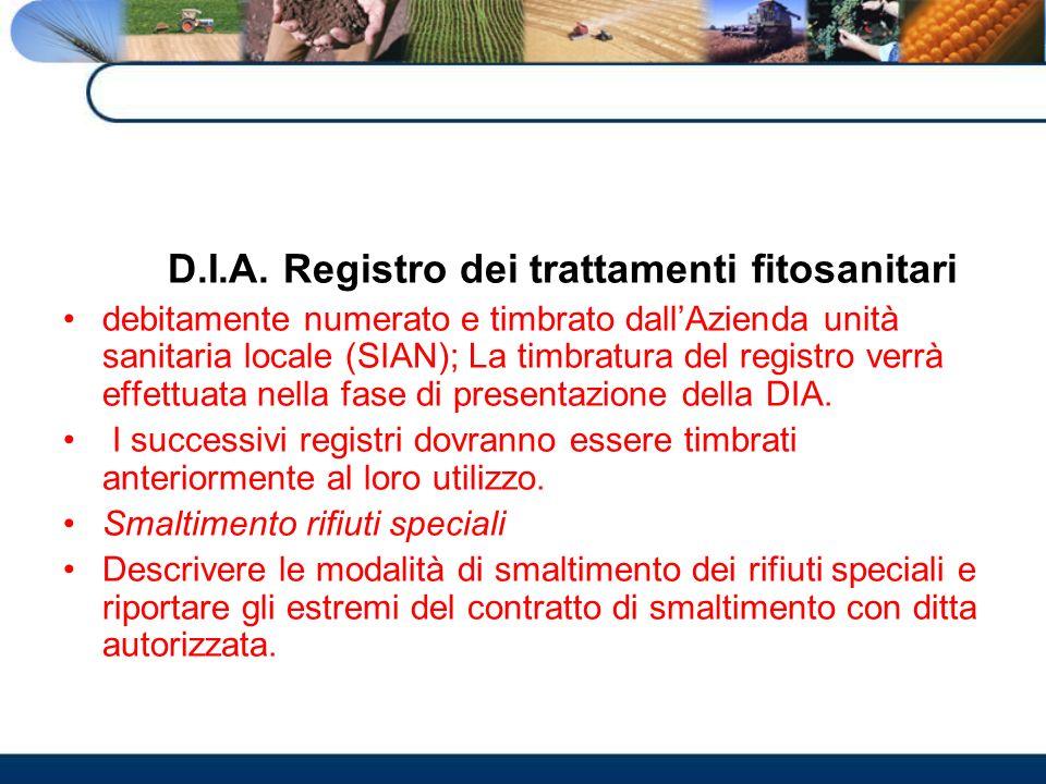 D.I.A. Registro dei trattamenti fitosanitari