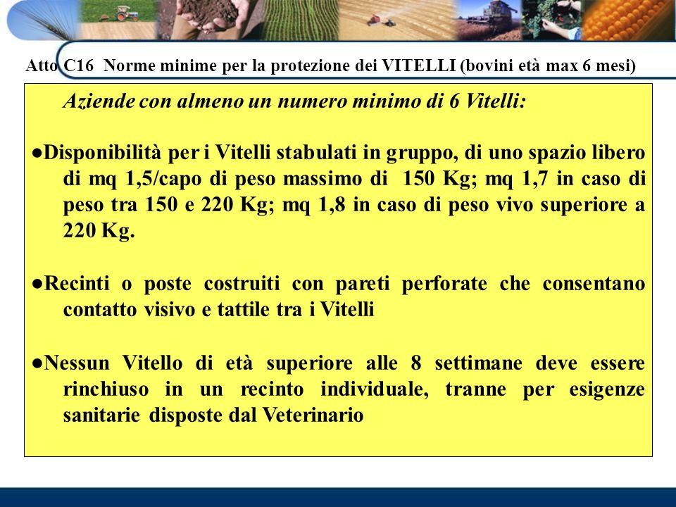 Atto C16 Norme minime per la protezione dei VITELLI (bovini età max 6 mesi)