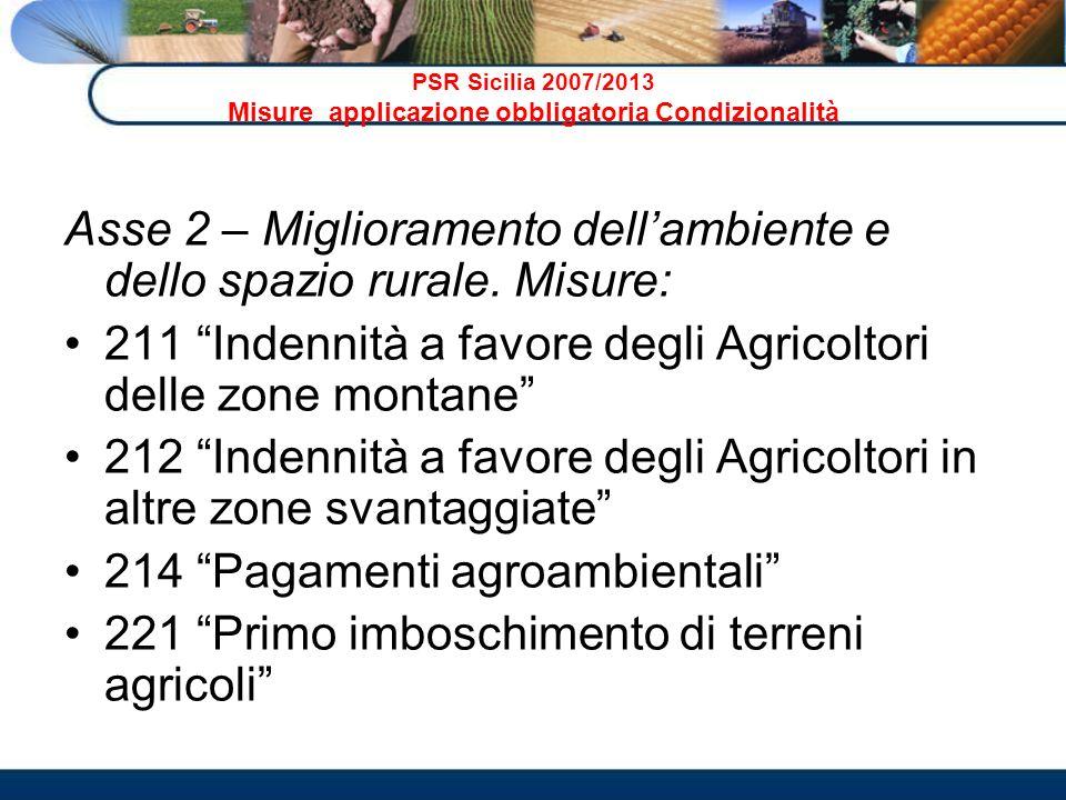PSR Sicilia 2007/2013 Misure applicazione obbligatoria Condizionalità