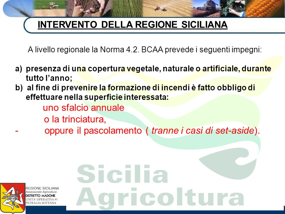 A livello regionale la Norma 4.2. BCAA prevede i seguenti impegni: