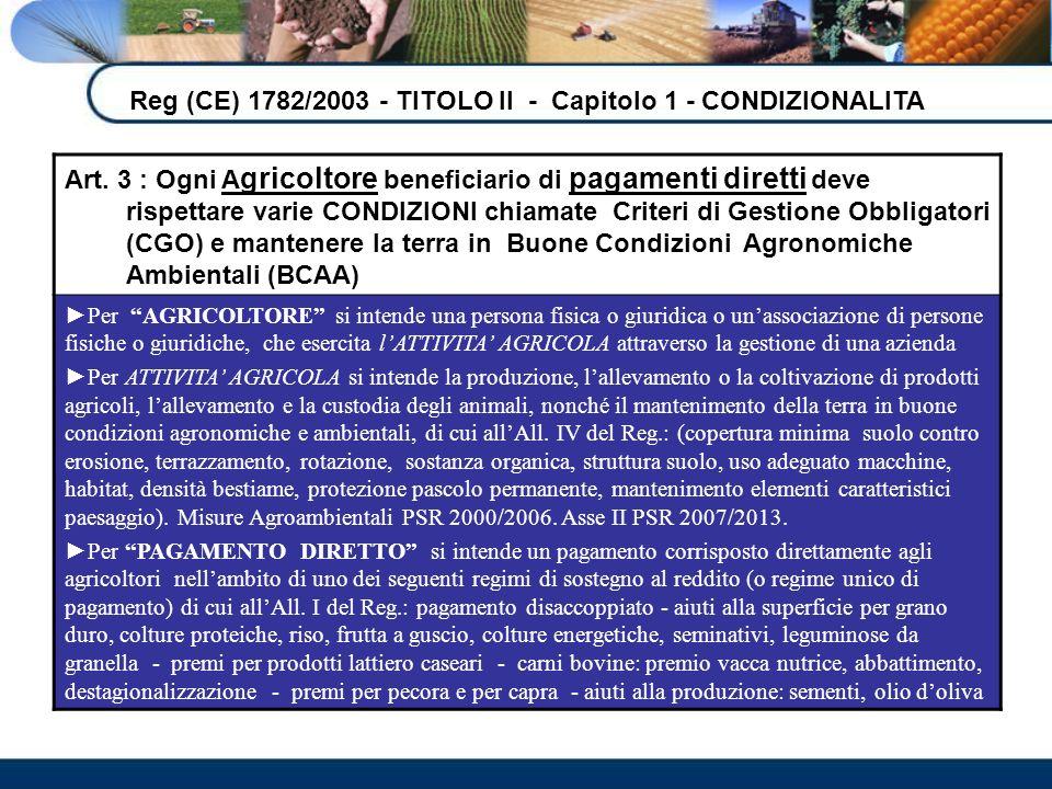 Reg (CE) 1782/2003 - TITOLO II - Capitolo 1 - CONDIZIONALITA
