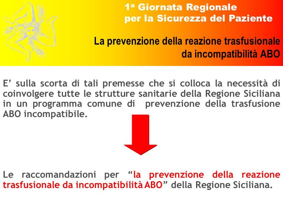 E' sulla scorta di tali premesse che si colloca la necessità di coinvolgere tutte le strutture sanitarie della Regione Siciliana in un programma comune di prevenzione della trasfusione ABO incompatibile.