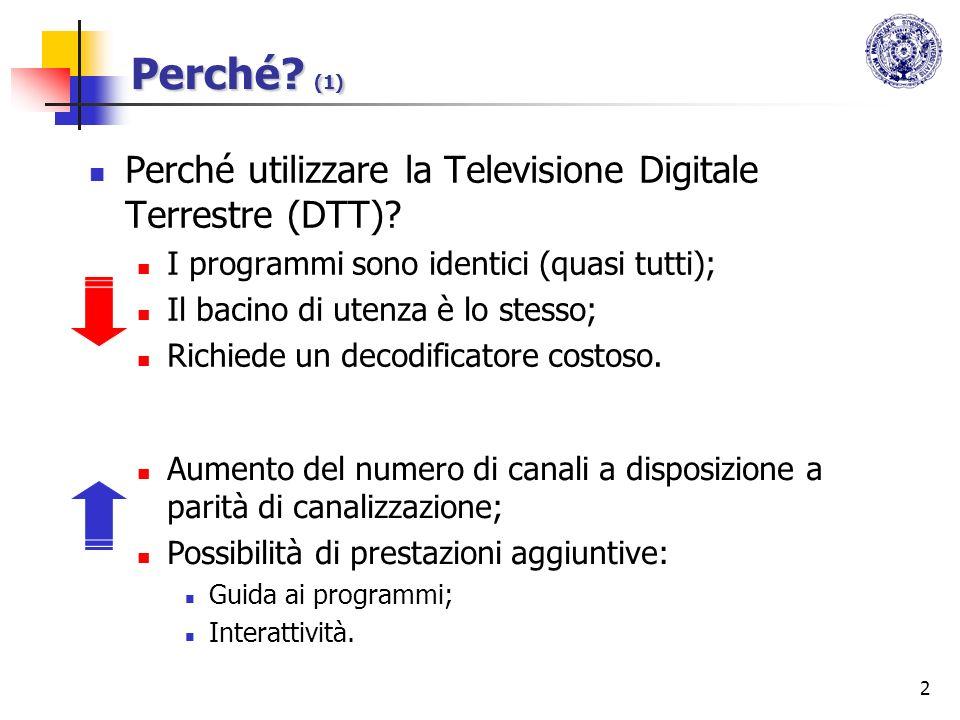 Perché (1) Perché utilizzare la Televisione Digitale Terrestre (DTT)