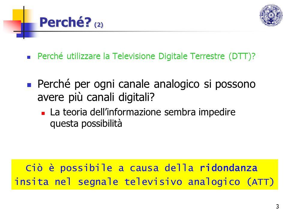 Perché (2) Perché utilizzare la Televisione Digitale Terrestre (DTT) Perché per ogni canale analogico si possono avere più canali digitali