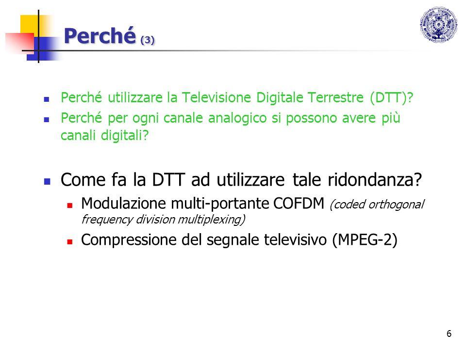Perché (3) Come fa la DTT ad utilizzare tale ridondanza