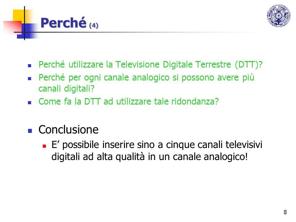 Perché (4) Perché utilizzare la Televisione Digitale Terrestre (DTT) Perché per ogni canale analogico si possono avere più canali digitali