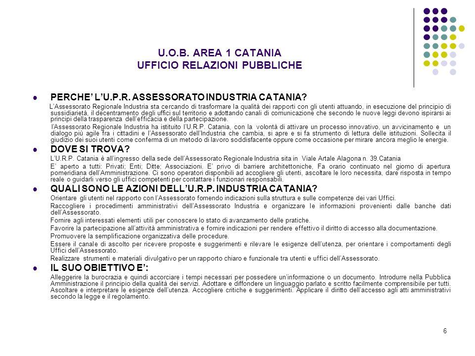 U.O.B. AREA 1 CATANIA UFFICIO RELAZIONI PUBBLICHE