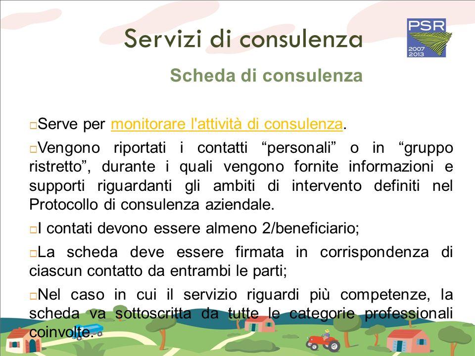 Servizi di consulenza Scheda di consulenza