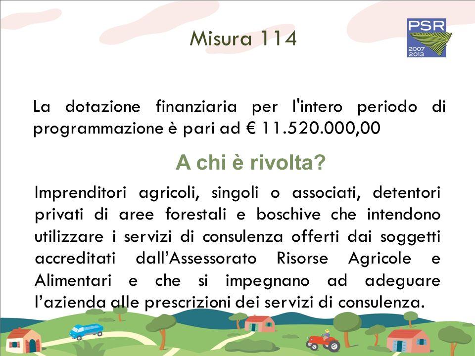 Misura 114 La dotazione finanziaria per l intero periodo di programmazione è pari ad € 11.520.000,00.